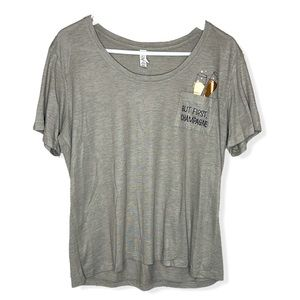 """""""but first, champagne"""" soft gray boxy T-shirt top"""